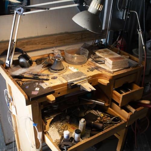 jeweler's bench in private studio