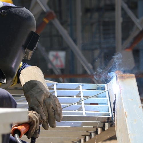 sheet metal worker at construction site